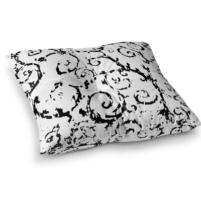 Distressed Scroll Floor Pillow Size: 26 H x 26 W