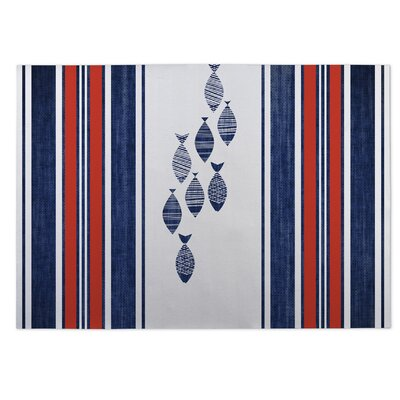 Concord Blue/Red Indoor/Outdoor Area Rug Size: 2 x 3