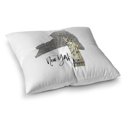 New York Floor Pillow Size: 26 H x 26 W