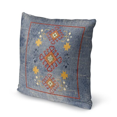 Yvonne Distressed Throw Pillow Size: 16 H x 16 W x 5 D, Color: Blue