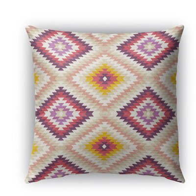 Sulien Indoor/Outdoor Throw Pillow Size: 16 H x 16 W x 5 D, Color: Beige/ Pink/ Ivory/ Purple