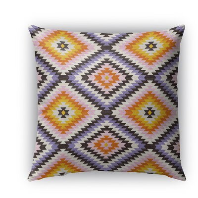 Sulien Indoor/Outdoor Throw Pillow Size: 26 H x 26 W x 5 D, Color: Purple/ Ivory/ Orange