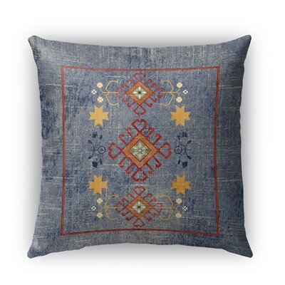Janine Distressed Indoor/Outdoor Throw Pillow Size: 26 H x 26 W x 5 D, Color: Blue/ Yellow/ Red