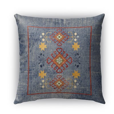 Yvonne Distressed Indoor/Outdoor Throw Pillow Size: 18 H x 18 W x 5 D, Color: Blue