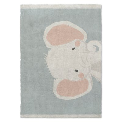Elephant Orange/White/Green Area Rug Rug Size: Rectangle 5 X 7