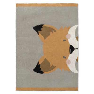 Fox Orange/Gray Area Rug Rug Size: 2' x 3'