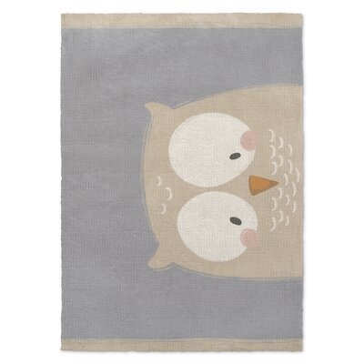 Owl Gray/Cream Area Rug Rug Size: 2' x 3'