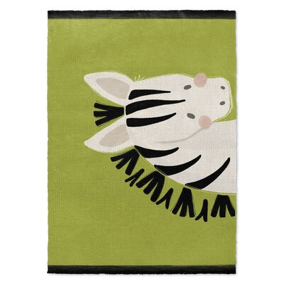 Zebra Black/White/Green Area Rug Rug Size: 2 x 3