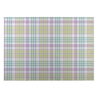 Glenway Floral Plaid Indoor/Outdoor Doormat Rug Size: 5 x 7