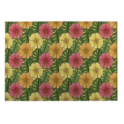 Ron Hibiscus Doormat Mat Size: Rectangle 2 x 3