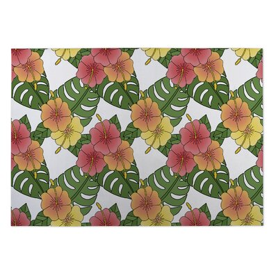 Paras Hibiscus Indoor/Outdoor Doormat Rug Size: 4 x 5