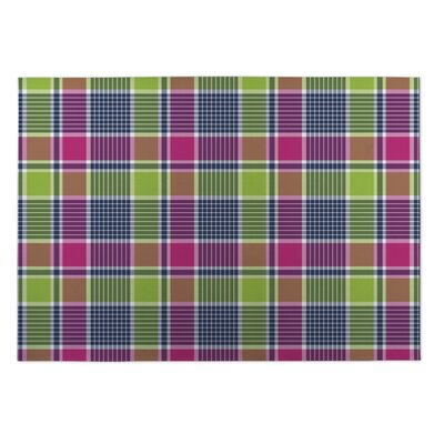 Gladys Love Potion Plaid Indoor/Outdoor Doormat Rug Size: Square 8