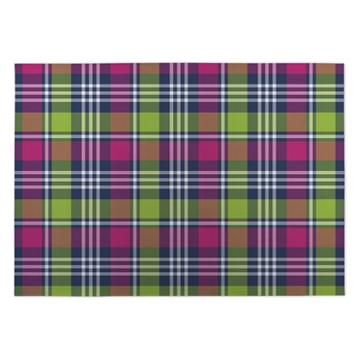 Grady Love Potion Plaid Indoor/Outdoor Doormat Rug Size: Square 8