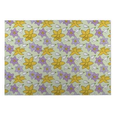 Lacy Floral Indoor/Outdoor Doormat Rug Size: 4 x 5