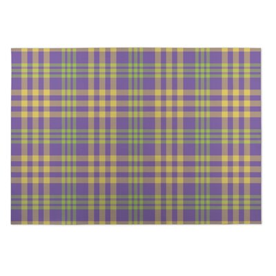 Goldia Floral Plaid Indoor/Outdoor Doormat Rug Size: Square 8