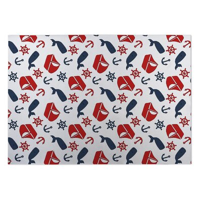 Martinsburg Nautical Navy Red Doormat
