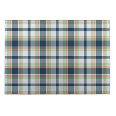 Montezuma Plaid Coral Blue/Green Doormat