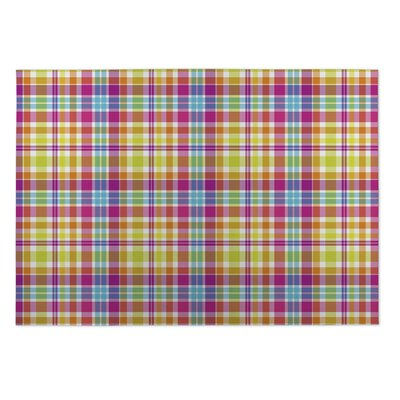 Glenn Tropical Plaid Indoor/Outdoor Doormat Rug Size: 5 x 7