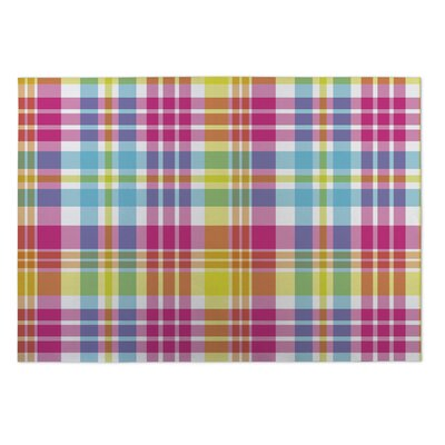 Hampstead Tropical Plaid Indoor/Outdoor Doormat Rug Size: 4 x 5