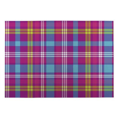 Debbi Tropical Plaid Indoor/Outdoor Doormat Rug Size: 4 x 5