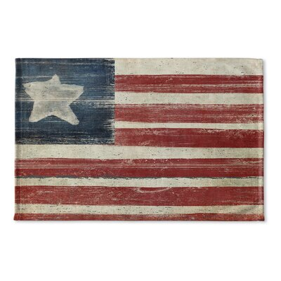 Anouk Rustic American Flag Flat Weave Bath Rug