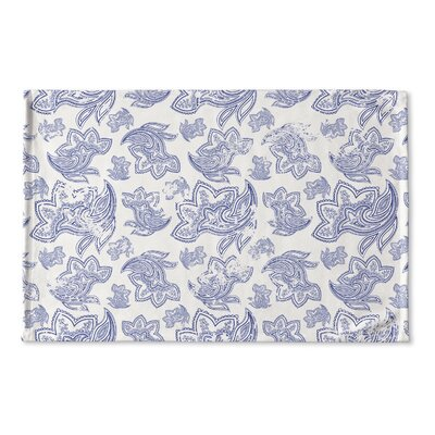Agatha Distressed Flat Weave Bath Rug Color: Blue/ Ivory