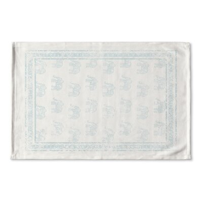 Netea Bordered Ivory-Blue Flat Weave Bath Rug