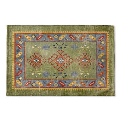 Yvonne Flat Weave Bath Rug Color: Green/ Yellow/ Blue