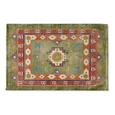 Negropo Flat Weave Bath Rug Color: Green/ Orange/ Blue