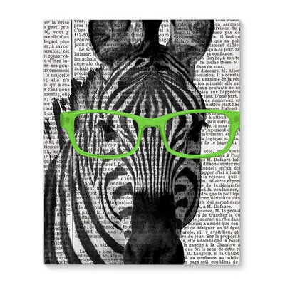 'Zebra In The Green Glasses' Graphic Art Print on Canvas Size: 10