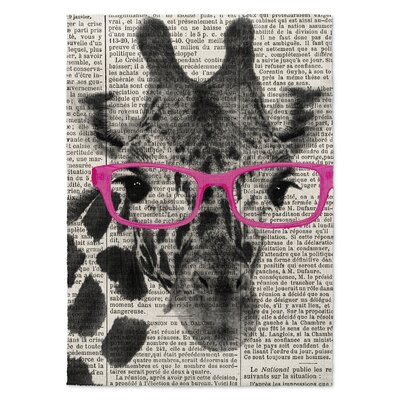 Balcom Giraffe in Glasses Area Rug Rug Size: 2 x 3