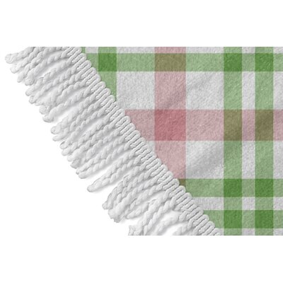Pascual Plaid Round Red/Green Beach Towel