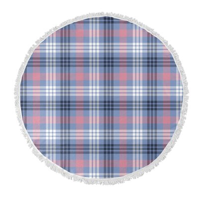 Plaid Round Pink/Blue Beach Towel