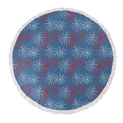 Danville Round Blue Fireworks Beach Towel