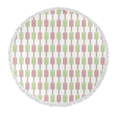 Garcia Round Green/Pink Beach Towel