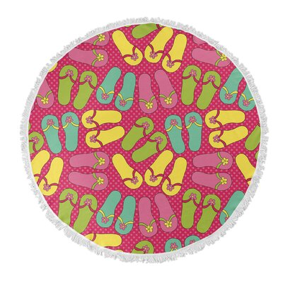 Flip-flops Round Pink/Yellow/Green Beach Towel