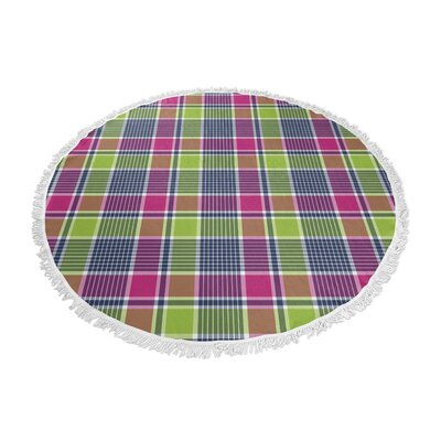 Zoelle Plaid Round Pink/Green Beach Towel