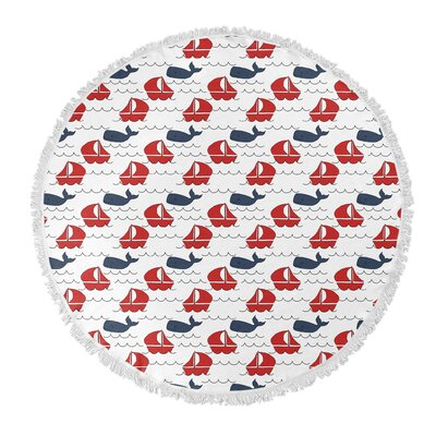 Melton Round Navy/Red Beach Towel