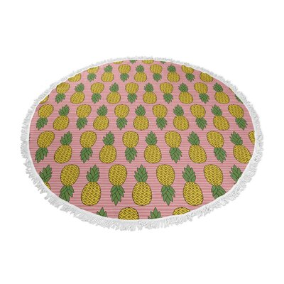 Brielle Round Pink/Yellow Beach Towel