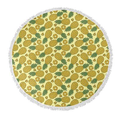 Brielle Round Yellow Pineapple Beach Towel