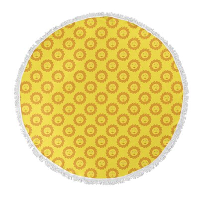 Zoel Round Orange Beach Towel