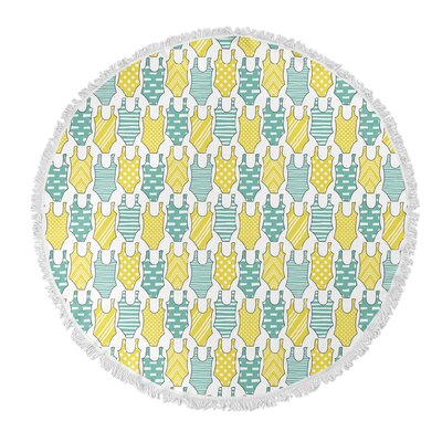 Round Turquoise/Yellow Beach Towel