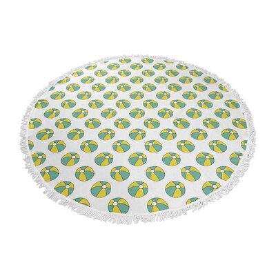 Round Turquoise/Yellow Beach Towel with Fringes
