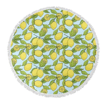 Round Green/Yellow Lemon Beach Towel