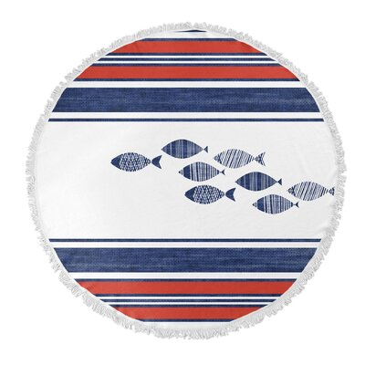 Concord Blue/Red Round Beach Towel