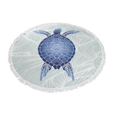 Blue Turtle Round Beach Towel