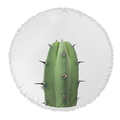 Geter Round Green Cactus Beach Towel