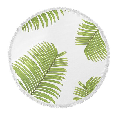 Round Green/White Beach Towel