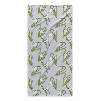 Green Flower Beach Towel