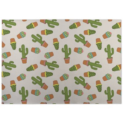 Rylie Cactus Doormat Color: Green/ Pink/ Tan